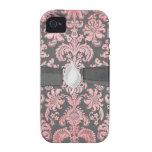 damasco del rosa del vintage del inricate en gris  iPhone 4/4S carcasas