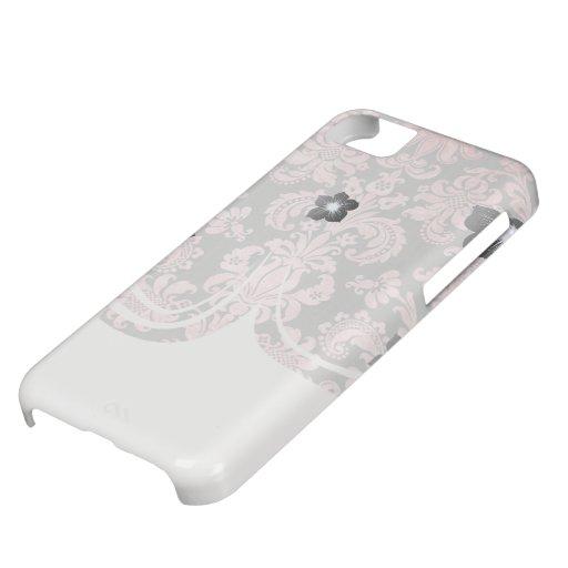 damasco del rosa del vintage del inricate en gris  funda para iPhone 5C