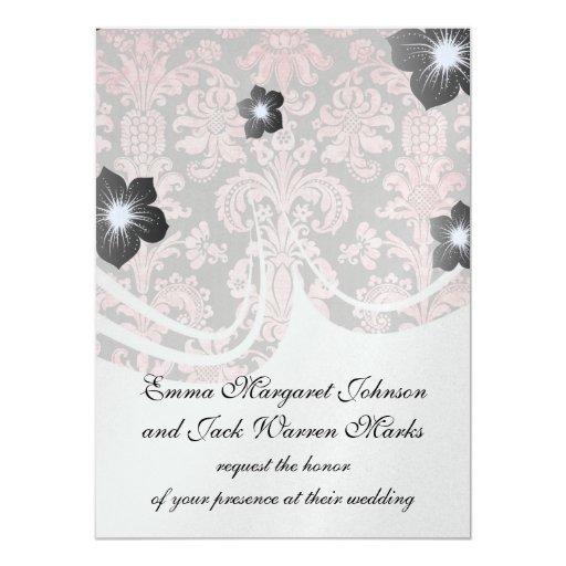 damasco del rosa del vintage del inricate en gris invitaciones personalizada