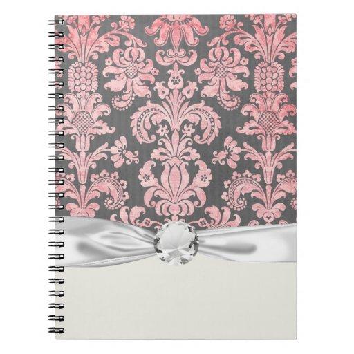 damasco del rosa del vintage del inricate en gris  cuadernos