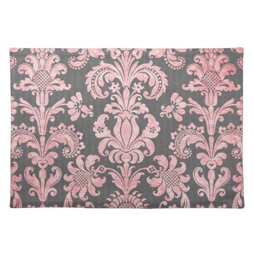 damasco del rosa del vintage del inricate en gris  mantel