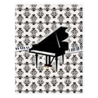Damasco del teclado de piano de cola postales