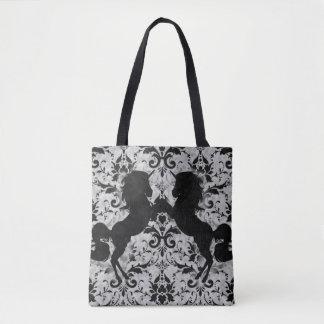 Damasco del unicornio bolsa de tela
