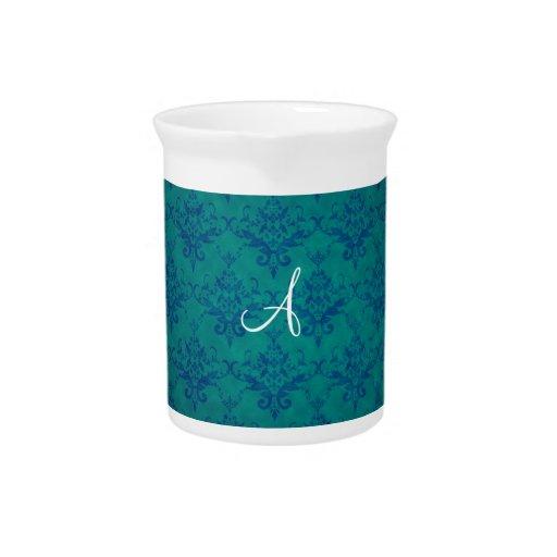 Damasco del verde del vintage del monograma jarras de beber
