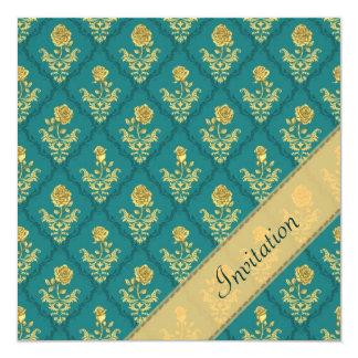 Damasco del verde esmeralda - invitación del