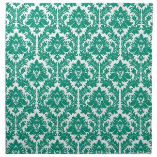 damasco del verde esmeralda servilletas imprimidas