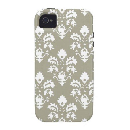 Damasco del verde verde oliva Case-Mate iPhone 4 carcasas