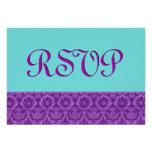 Damasco del vintage de RSVP de la púrpura y de la  Invitación