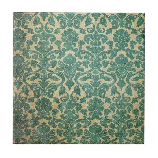 Damasco del vintage del verde azul azulejo cuadrado pequeño
