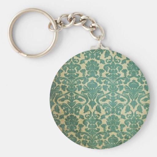 Damasco del vintage del verde azul llaveros