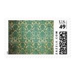 Damasco del vintage del verde azul sellos