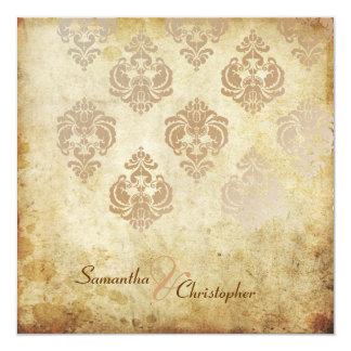 Damasco del vintage/falsas invitaciones de cobre invitación 13,3 cm x 13,3cm