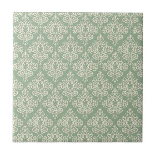 Damasco del vintage - verde salvia azulejo ceramica