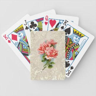 Damasco del vintage y naipes de los rosas baraja cartas de poker