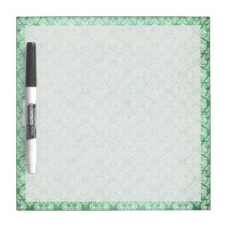 Damasco descolorado del Grunge en verde Tablero Blanco
