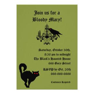 Damasco e invitación verde de Halloween