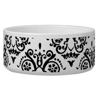 Damasco elegante blanco y negro bol para perro