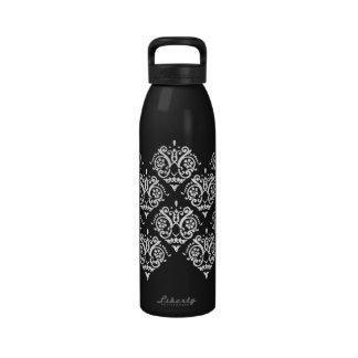Damasco elegante blanco y negro botella de beber