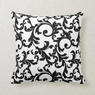 Damasco elegante blanco y negro cojines