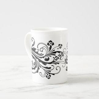 Damasco elegante blanco y negro taza de porcelana