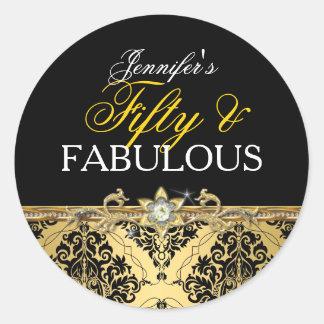 Damasco elegante cincuenta y 2 fabulosos del oro pegatina redonda