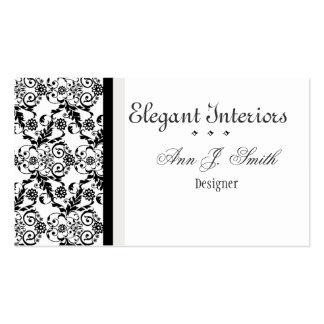 Damasco elegante con clase blanco negro floral tarjetas de visita