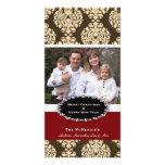 Damasco elegante de Brown del navidad Tarjeta Fotográfica Personalizada