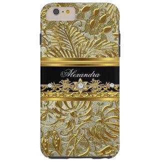 Damasco elegante de la plata del negro del oro funda para iPhone 6 plus tough