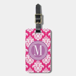Damasco elegante de las rosas fuertes personalizad etiqueta para maleta