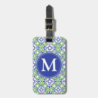 Damasco elegante del Arabesque azul y verde person Etiquetas Para Maletas