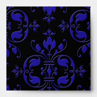 Damasco elegante del azul y del negro de cobalto