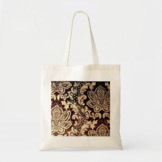 Damasco elegante del chocolate del vintage bolsa tela barata