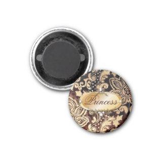 Damasco elegante del chocolate del vintage imán redondo 3 cm
