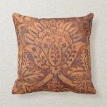 Damasco elegante del cuero de la antigüedad del re almohada