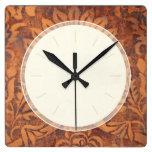 Damasco elegante del cuero de la antigüedad del re relojes de pared