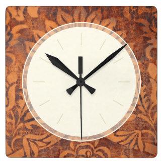 Damasco elegante del cuero de la antigüedad del reloj cuadrado