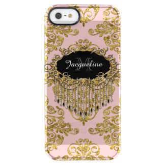 Damasco elegante del falso del oro vintage funda clearly™ deflector para iPhone 5 de uncommon