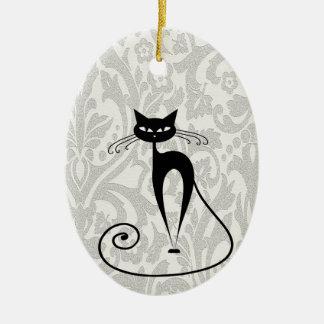 Damasco elegante del gato negro adorno
