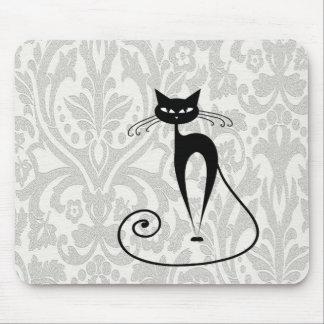 Damasco elegante del gato negro tapete de ratones