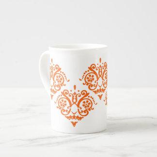 Damasco elegante del naranja y blanco taza de porcelana