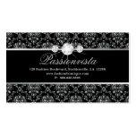 Damasco elegante del negro de la plata de 311 tarjetas de visita