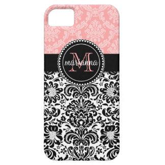 Damasco elegante del negro de los rosas bebés de iPhone 5 carcasas