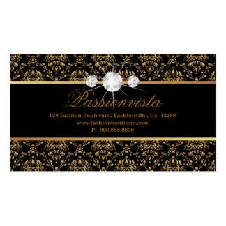 Damasco elegante del negro del oro de los diamante tarjeta de negocio