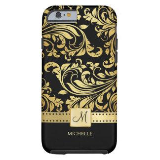Damasco elegante del negro y del oro con el funda de iPhone 6 tough