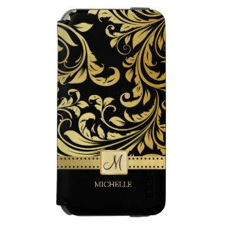 Damasco elegante del negro y del oro con el funda billetera para iPhone 6 watson