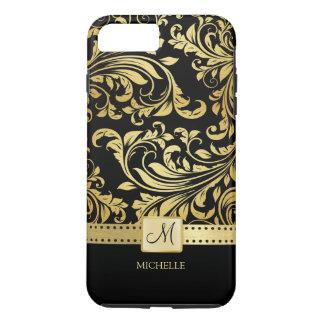 Damasco elegante del negro y del oro con el funda iPhone 7 plus