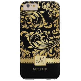 Damasco elegante del negro y del oro con el funda resistente iPhone 6 plus