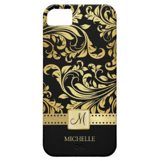 Damasco elegante del negro y del oro con el iPhone 5 carcasa