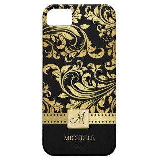Damasco elegante del negro y del oro con el monogr iPhone 5 Case-Mate cárcasa