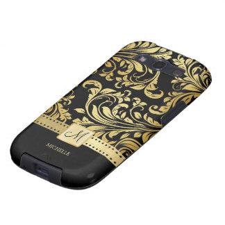 Damasco elegante del negro y del oro con el monogr galaxy SIII funda